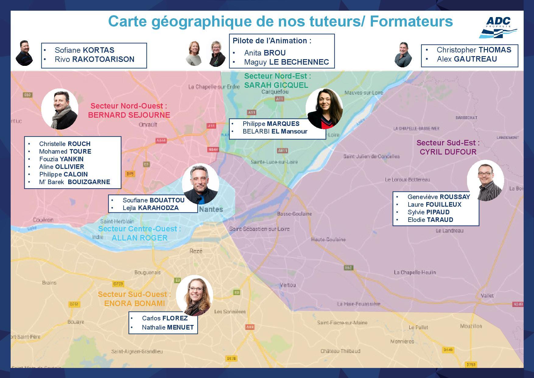 Carte géographique des tuteurs_formateurs d'ADC Propreté